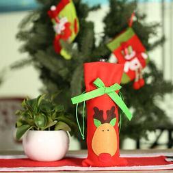 Festnight 1PC Red Wine Bottle Cover Bag Christmas Dinner Tab
