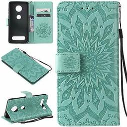 Cmeka 3D Sunflower Wallet Case for Motorola Moto Z4 Play Sli
