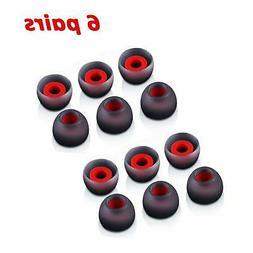 6 Pairs M-size Black Red In-Ear Earphone Soft Silicone Earbu
