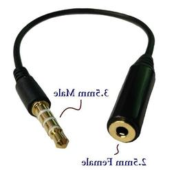 D & K Exclusives® Black 3.5mm Male to 2.5mm Female Headphon