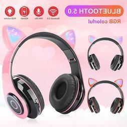 Bluetooth Over Ear Headset Girls Wireless Headphones Handsfr