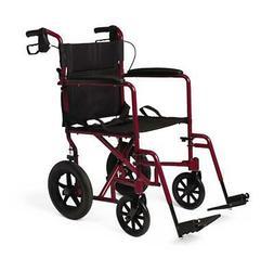Medline Deluxe Aluminum Transport Wheelchair with Loop Brake