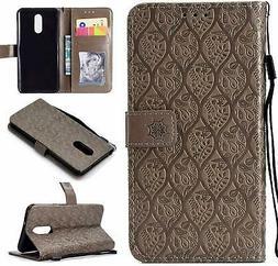 Cmeka Emboss 3D Rattan Flower Wallet Case for LG Stylo 4 Q S