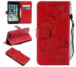 Cmeka Emboss Butterfly Wallet Case for iPhone 7 Plus/iPhone