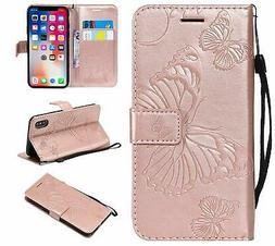 Cmeka Emboss Butterfly Wallet Case for iPhone Xs/iPhone X,Wr
