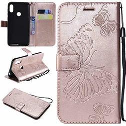 Cmeka Emboss Butterfly Wallet Case for Motorola Moto One Pow