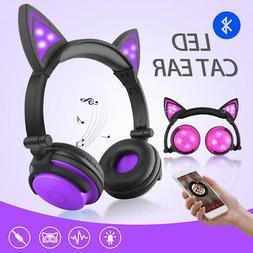 Girls Wireless Bluetooth Cat Ear Headband LED Lights Headpho