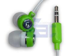 Green & White Earbuds Earphones Headphones 3.5mm Audio Jack