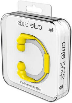 iHip Cute Yellow Earphones W/Mic  With Microphone, Yellow, E