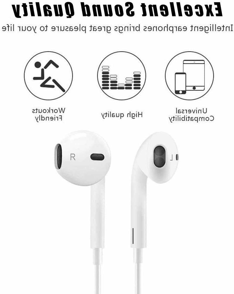 2 Pack Earbuds 3.5mm Wired Earphones Noise Isolating White