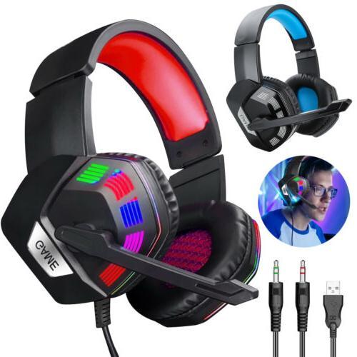 Gaming Earphone Wired Gamer Headphone Stereo Headsets Light
