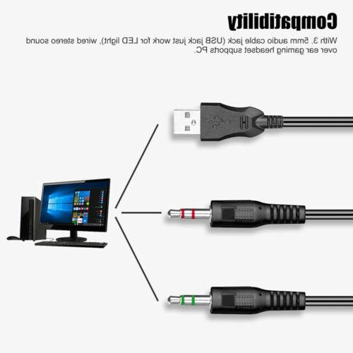 Gamer Headphone Headsets LED Light US