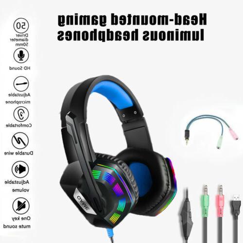 Gaming Headset Earphone Gamer Sound Headsets LED Light