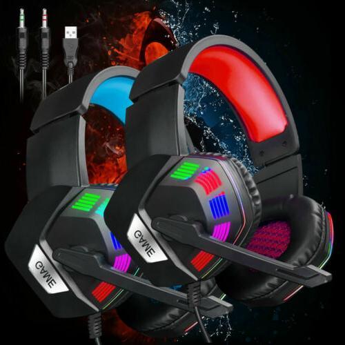 Gaming Gamer Headphone Stereo Headsets Light US