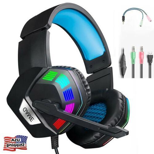 gaming headset earphone wired gamer headphone stereo