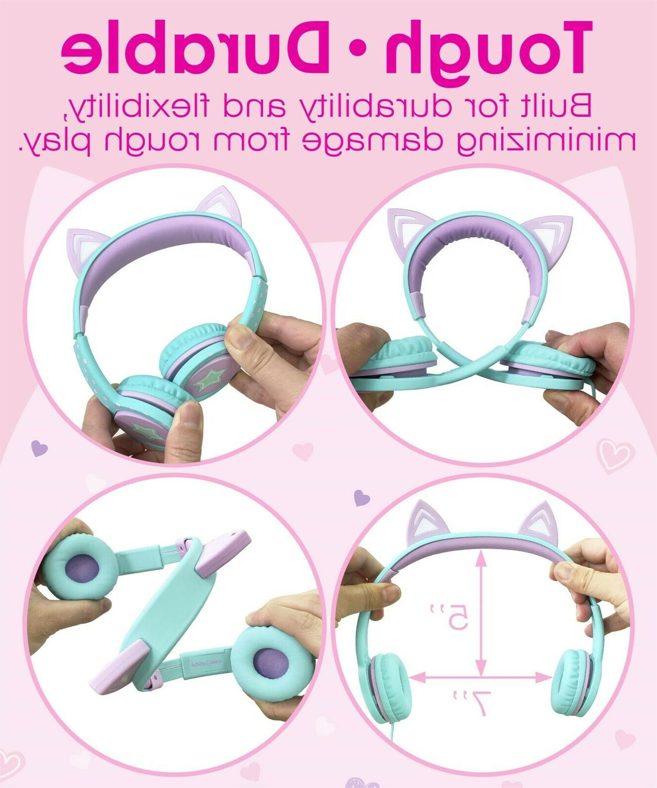 Kids Wired Cat Headphone On Ear Control