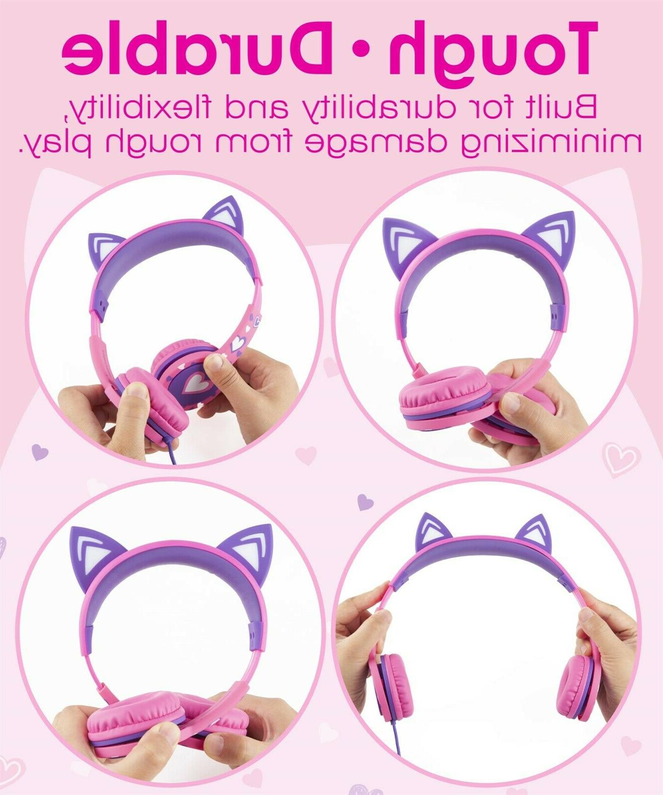Kids Wired Cat Headphone Headsets On Pink Volume Control