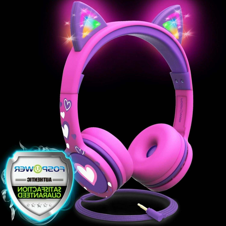 kids wired cat ears headphone headsets girl