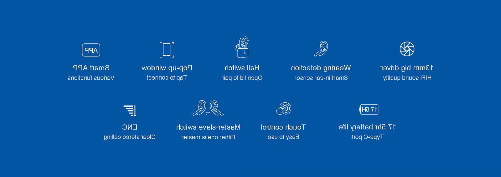 QCY Wireless 5.0 Earphones Control