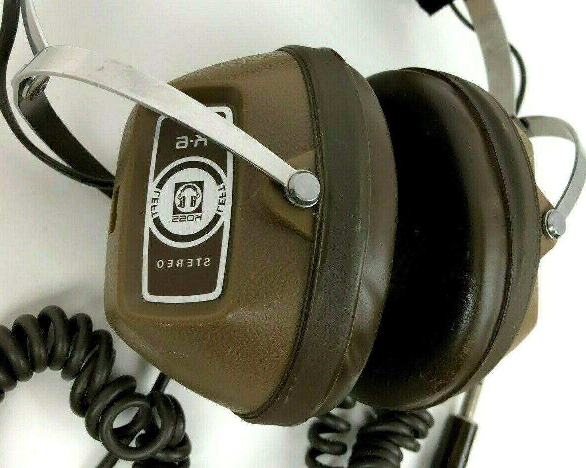 """VINTAGE KOSS HEADPHONES K-6 Brown 1/4"""" Jack Audio Earphones"""