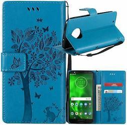 Moto G6 Case, Lacass Cat Tree Pattern PU Leather Flip Wallet