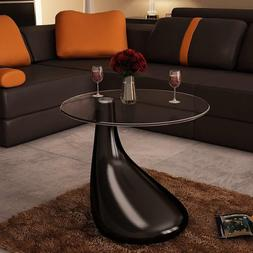 Festnight Round Shape Coffee Table Clear with Glass Top and