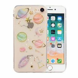 CMEKA Slim Fit iPhone 8 Case Bling Glitter Sparkle Space Pla