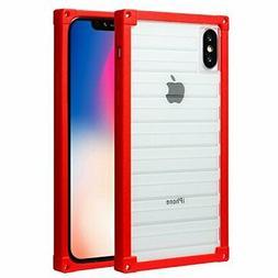 Square Design iPhone x Case,CMEKA Drop Resistant Hybrid Clea