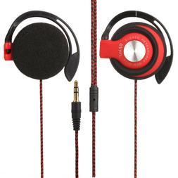 Wired Clip On Ear Sport Headphones EarHook Earphone For Mp3