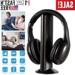 Wireless RF Headphones HiFi Over-Ear Headsets Mic for PC TV
