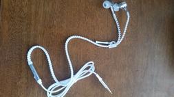 Zipper Style Headphones/Earphones/Earbuds with Microphone